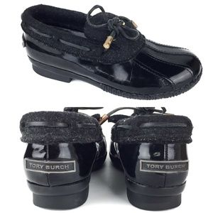 Tory Burch Black Leather Rain Snow Duck Shoes